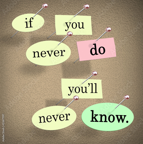 If You Never Do You'll Never Know Pushpin Saying Quote