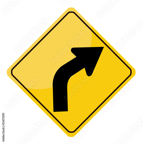 Yellow traffic sign isolated on white background