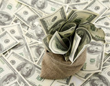 Canvas money sack with one hundred dollar bills - 53672157