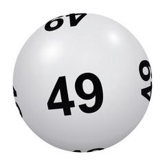 Loto, boule blanche numéro 49