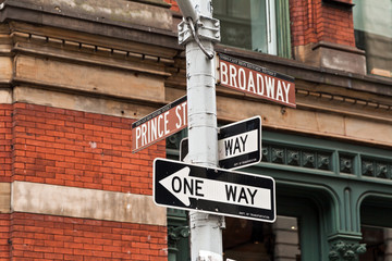 Street signs and traffic lights in New York, USA