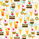 Seamless pattern with drinks and sweets