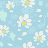 Vector seamless pattern with camomile