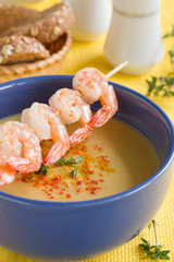Lentil soup with shrimp.