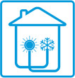 symbol conditioner in home with sun and snowflake in house