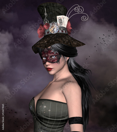 Beautiful woman with bizarre hat and mask