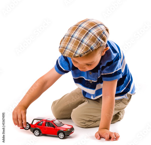 Boy and toy car