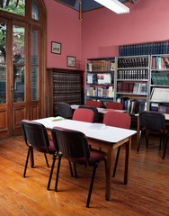 Empty Library With Tables And Chairs