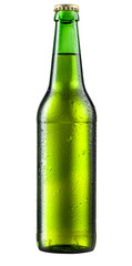 Bottle of beer with drops on white background. With clipping pat