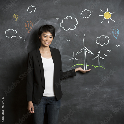 Asian woman in front of eco sketch on chalkboard.