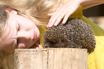 little girl and a hedgehog