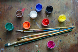 Set of brushes and paints