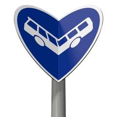 Verkehrsschild Busweg bildet Herzchen