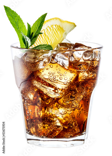 Glass of cola with ice, mint and lemon isolated on white. Clippi