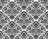 Seamless floral polish pattern in black and white - 53676192