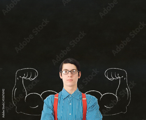 Nerd geek businessman student teacher strong arm muscles success