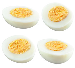 half of boiled egg isolated on white. With clipping path