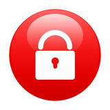 Button online security icon red