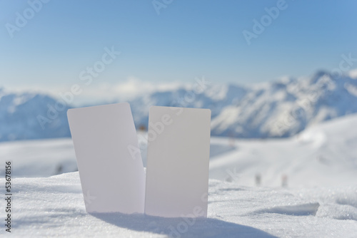Snow entrance fee cards with copy space