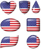 American Flag in various shape glossy button
