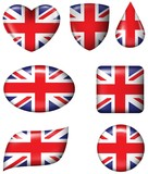 British Flag in various shape glossy button