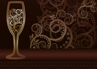 Golden wineglass card with floral pattern, vector