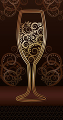 Golden wineglass with floral pattern, vector