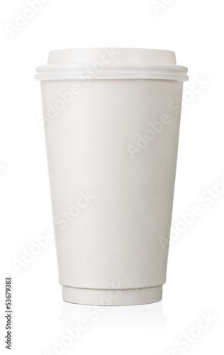 Coffe to go, blank paper cup isolated on white background