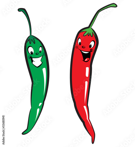 Red and green hot chili character peppers