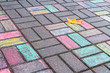 Chalk drawing on asphalt