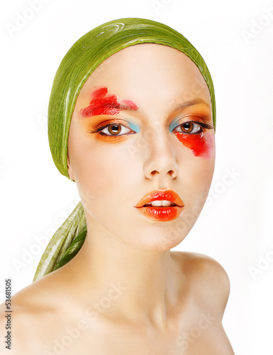 Fantasy. Glamor. Woman in Green Shawl and Colorful Makeup