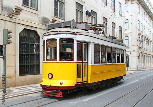 Old yellow Lisbon tram, Portugal