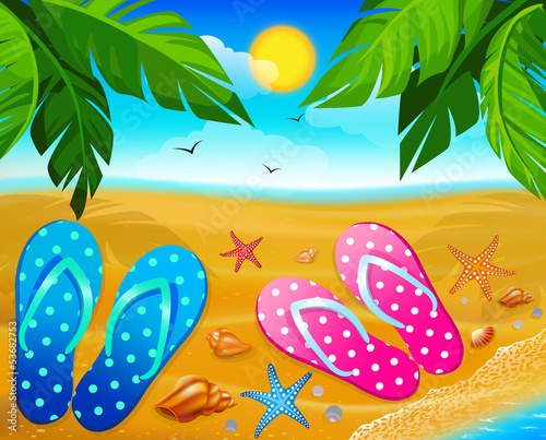 Flip-flops on sand beach, illustration