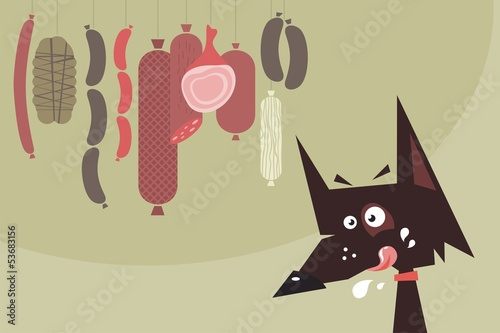 Drooling dog and sausages
