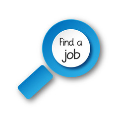 """FIND A JOB"" Magnifying Glass (offers vacancies careers online)"