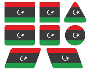 set of buttons with flag of Libya