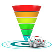 Sales funnel. Entonnoir de ventes