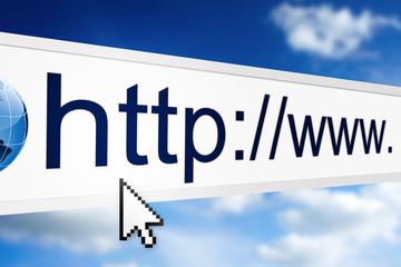 closeup of internet address in web browser