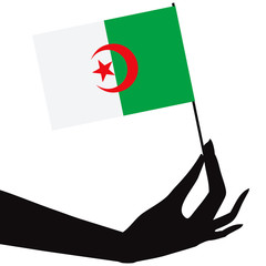 Algerian flag in hand