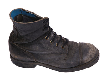 Isolated Used Army Boot - High Angle Side View
