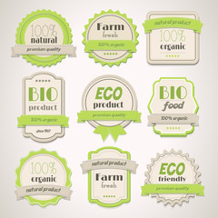 Collection of Eco and Bio vintage labels