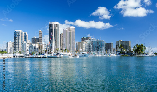 Honolulu skyline with seafront, Oanu Hawaii