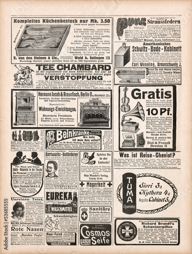 Fototapeta newspaper page with antique advertisement 1909