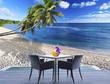 terrasse sur plage aux Seychelles