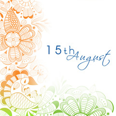 Beautiful floral in national flag colors with text 15th August f