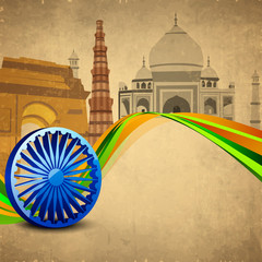 3D Ashoka wheel with national flag colors and famous monuments b