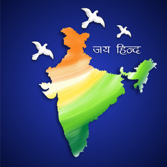 Republic of India map in national flag colors with flying pigeon
