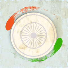 Indian Independence Day concept with Ashoka wheel and saffron an