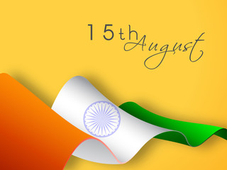 Indian National Flag wave with text 15th August on yellow backgr