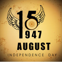 Indian Independence Day vintage background with text 15 August 1